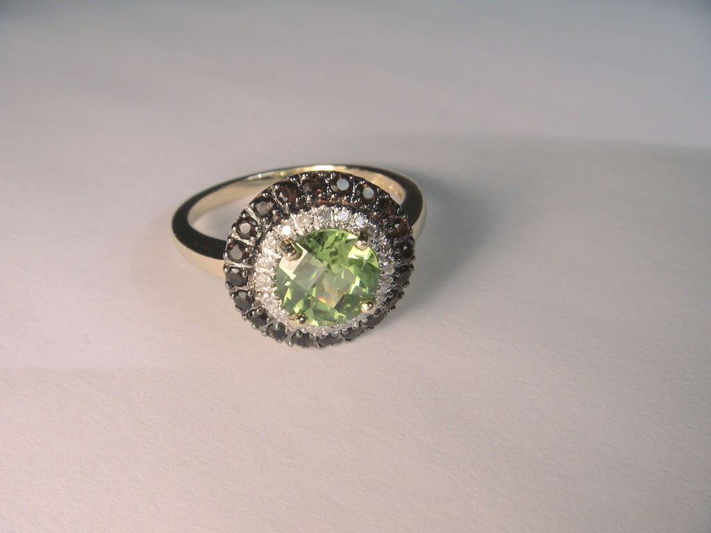 Beautiful 14K Yellow Gold Peridot Smokey Quartz Diamond Ring Band