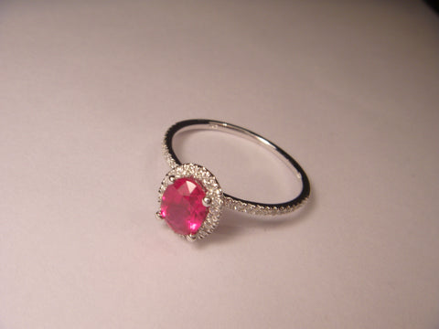 Beautiful 14K White Gold Solitaire Ruby Diamond Cocktail Ring