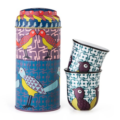 Tin Box with 2 Coffee Cups Birds of Paradise