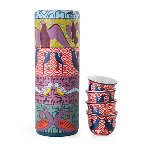 Tin box with 4 coffee cups 60ml Birds of Paradise