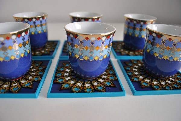 Set of 6pcs Coffee Cup Musee Sursock Vitrail 90ml