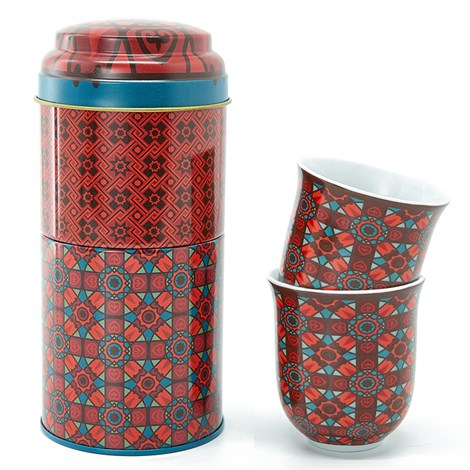 Tin box with 2 coffee cups 90ml Kalea