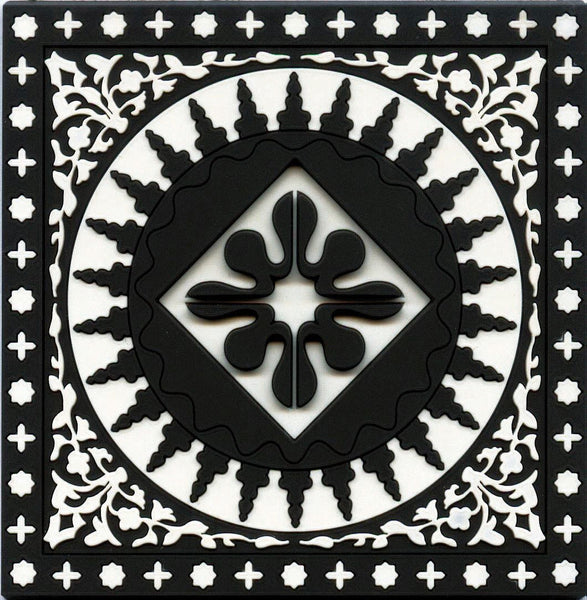 Set of 6 Coasters Mosaic Black & White - Arabesque Boutique - 1