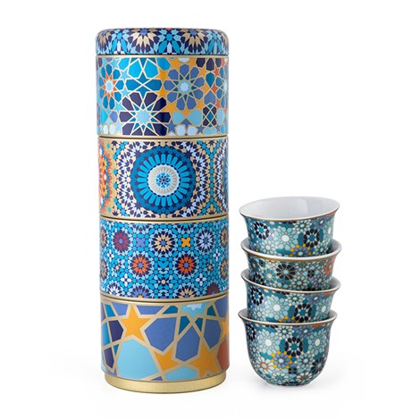 Tin box with 4 Coffee Cups Moucharabieh Blue