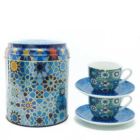 Tin Box With 2 Coffee Cups & Saucer Moucharabieh
