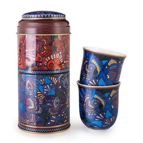 Tin box with 2 coffee cups 90ml Kashmir