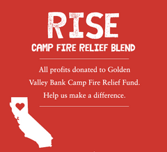 Image of RISE coffee bag art. Includes an illustration of CA with a heart near Butte County.