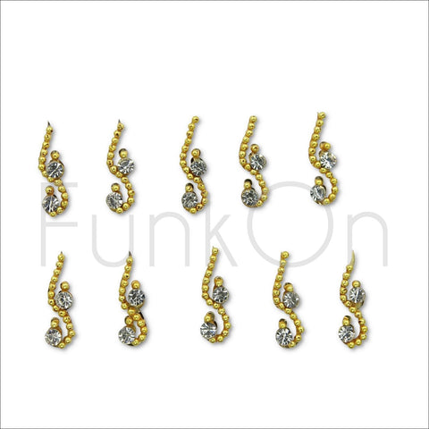 Aeon | Fancy Bindi Multi Pack | 10 Gold Festival Face Jewels-FunkOn