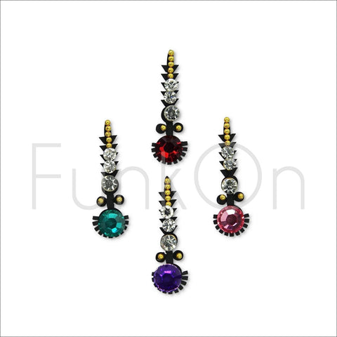 Ariel | Fancy Bindi Multi Pack | 4 Multicoloured Festival Face Jewels-FunkOn