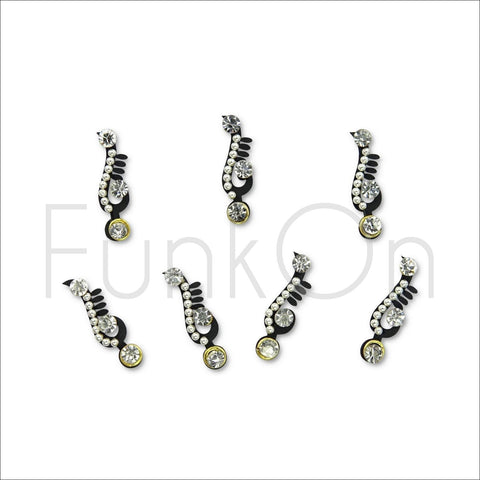 Elysian | Fancy Bindi Multi Pack | 7 Silver Festival Face Jewels-FunkOn