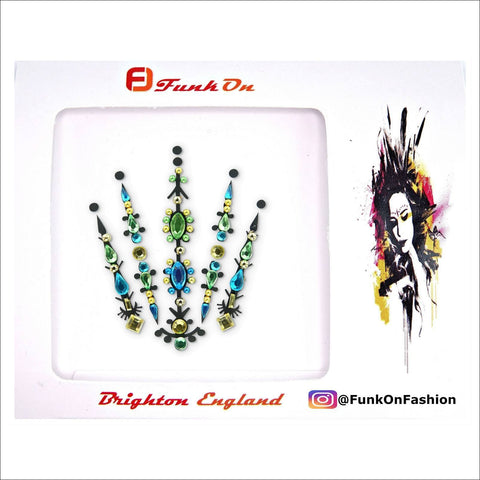 Fairy Queen | Blue & Green One Piece Festival Face Gem | Bindi Jewel Fusion-FunkOn