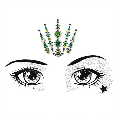 Fairy Queen | Green & Gold One Piece Festival Face Gem | Bindi Jewel Fusion-FunkOn