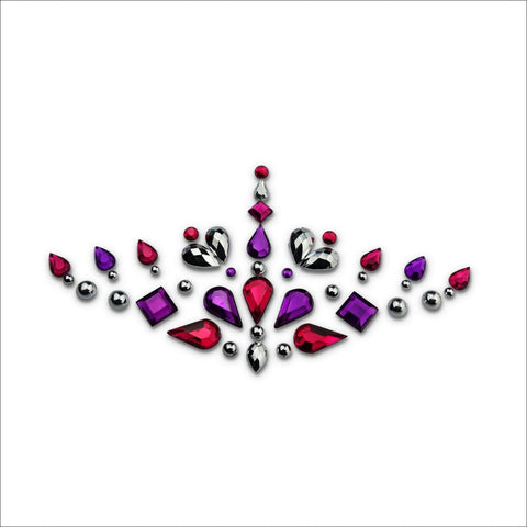 Free Spirit | Purple, Red and Silver One Piece Festival Face Gem | Jewel Fusion-FunkOn