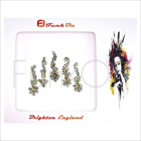 Goa | Fancy Bindi Multi Pack | 5 Gold Festival Face Jewels-FunkOn