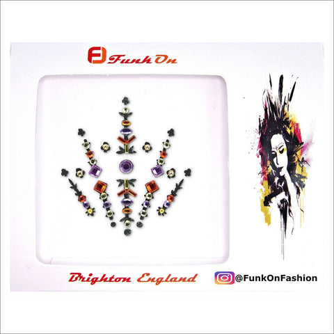 Interstellar|Purple/Orange One Piece Festival Face Gem | Bindi Jewel Fusion-FunkOn