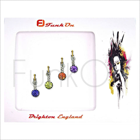 Karma | Fancy Bindi Multi Pack | 4 Multicolour Face Jewels-FunkOn