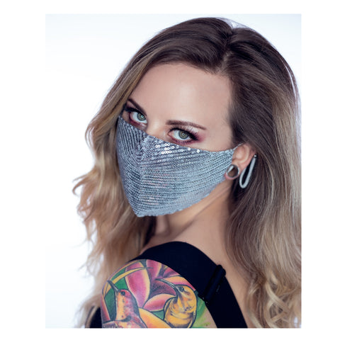 Ladies Silver Glitter Face mask. A sparkly sequin festival fashion face covering that's is glamorous, glittery and reusable. Pm2.5 filter included.