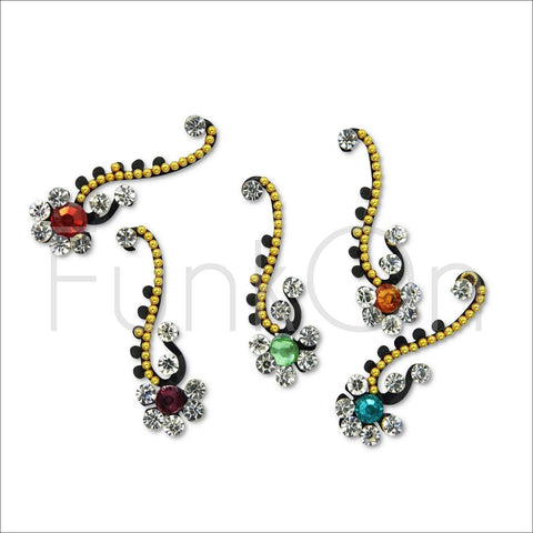 Lotus | Fancy Bindi Multi Pack | 5 Gold & Multicoloured Festival Face Jewels-FunkOn
