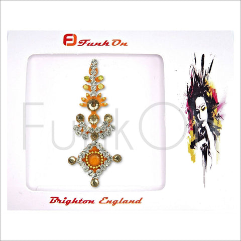 Majestic |Huge Single Orange Bindi | Festival Face Gem | Jewel Headpiece-FunkOn