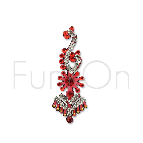 Majestic |Huge Single Red Bindi | Festival Face Gem | Jewel Headpiece-FunkOn
