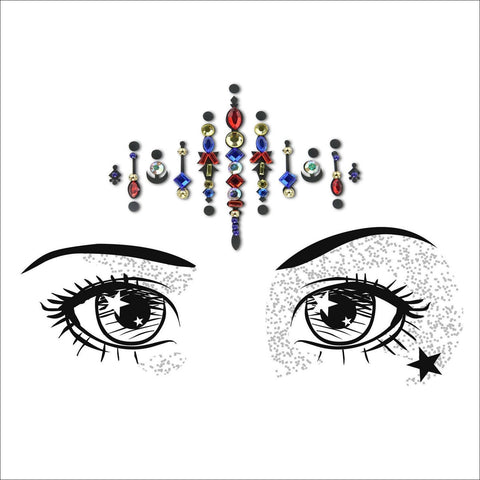 Moon Child | Red/Blue One Piece Festival Face Gem | Bindi Jewel Fusion-FunkOn