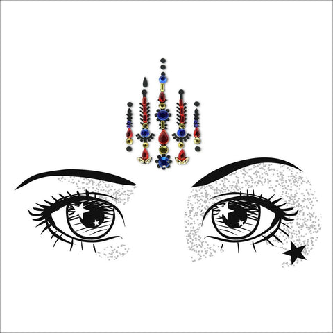 Mystic Soul | Blue & Red One Piece Festival Face Gem | Bindi Jewel Fusion-FunkOn