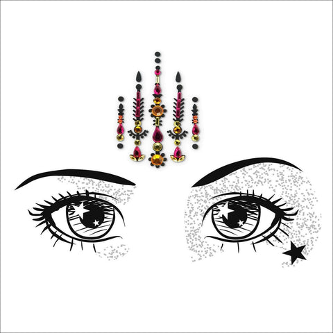 Mystic Soul | Pink & Gold One Piece Festival Face Gem | Bindi Jewel Fusion-FunkOn
