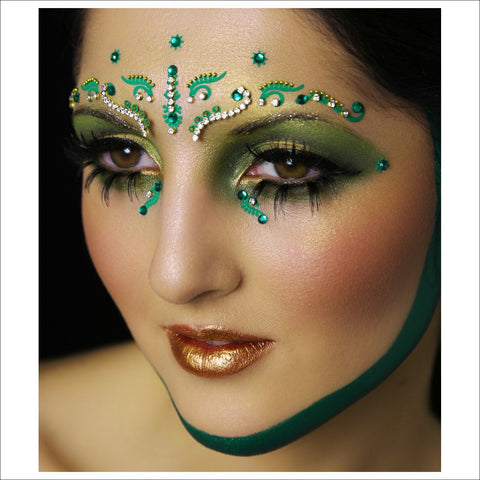 Mystical Forest | Green Face Jewel| Festival Brow Gem-FunkOn
