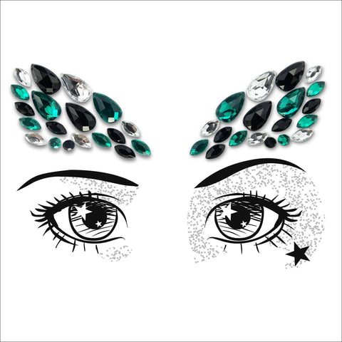 Party Eyes | Green & Black One Piece Festival Face Gem | Jewel Fusion-FunkOn