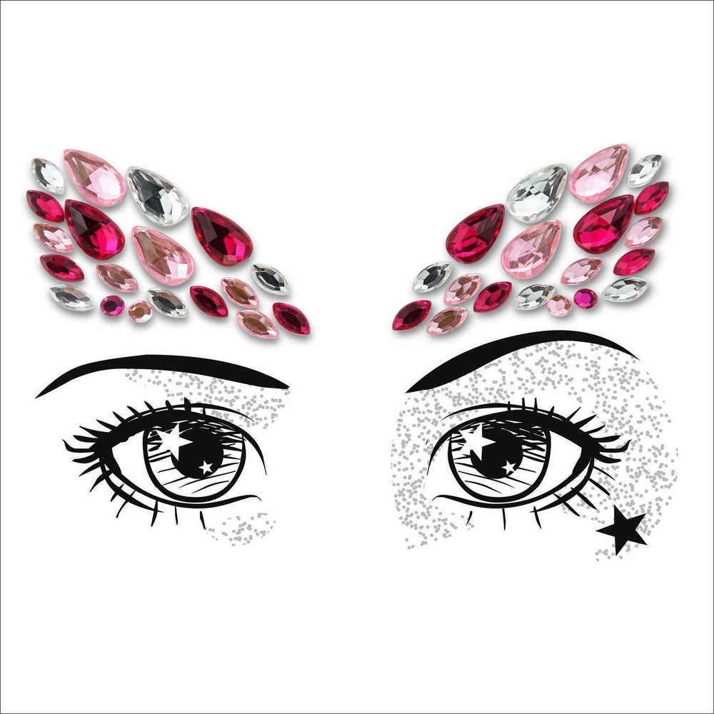 Party Eyes | Pink & Silver One Piece Festival Face Gem | Jewel Fusion-FunkOn