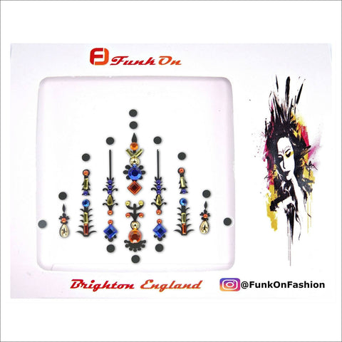 Pyramid | Blue/Orange One Piece Festival Face Gem | Bindi Jewel Fusion-FunkOn
