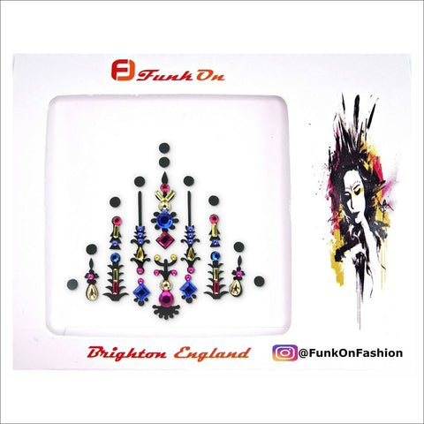 Pyramid | Pink/Blue Festival One Piece Festival Face Gem | Bindi Jewel Fusion-FunkOn