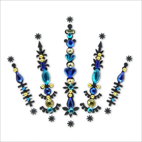Solar Flare | Blue/Gold One Piece Festival Face Gem | Bindi Jewel Fusion-FunkOn