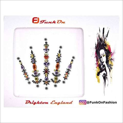 Solar Flare | Purple & Orange One Piece Festival Face Gem | Bindi Jewel Fusion-FunkOn