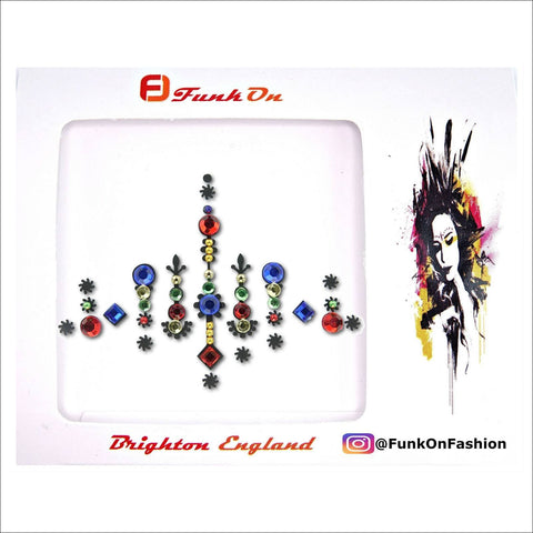 Sunshine Happy | Red/Blue One Piece Festival Face Gem | Bindi Jewel Fusion-FunkOn