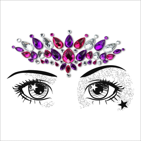 Temptress | Pink, Purple & Silver One Piece Festival Face Gem | Jewel Fusion-FunkOn