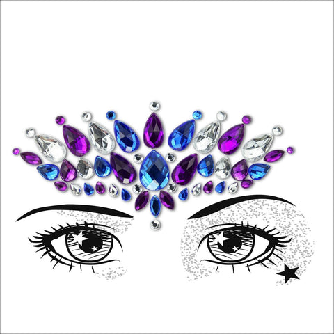 Temptress | Purple, Blue & Silver One Piece Festival Face Gem | Jewel Fusion-FunkOn