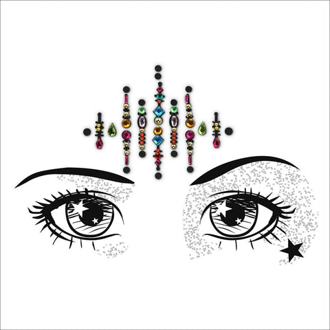 Trippy Hippy | Multicoloured One Piece Festival Face Gem | Bindi Jewel Fusion-FunkOn