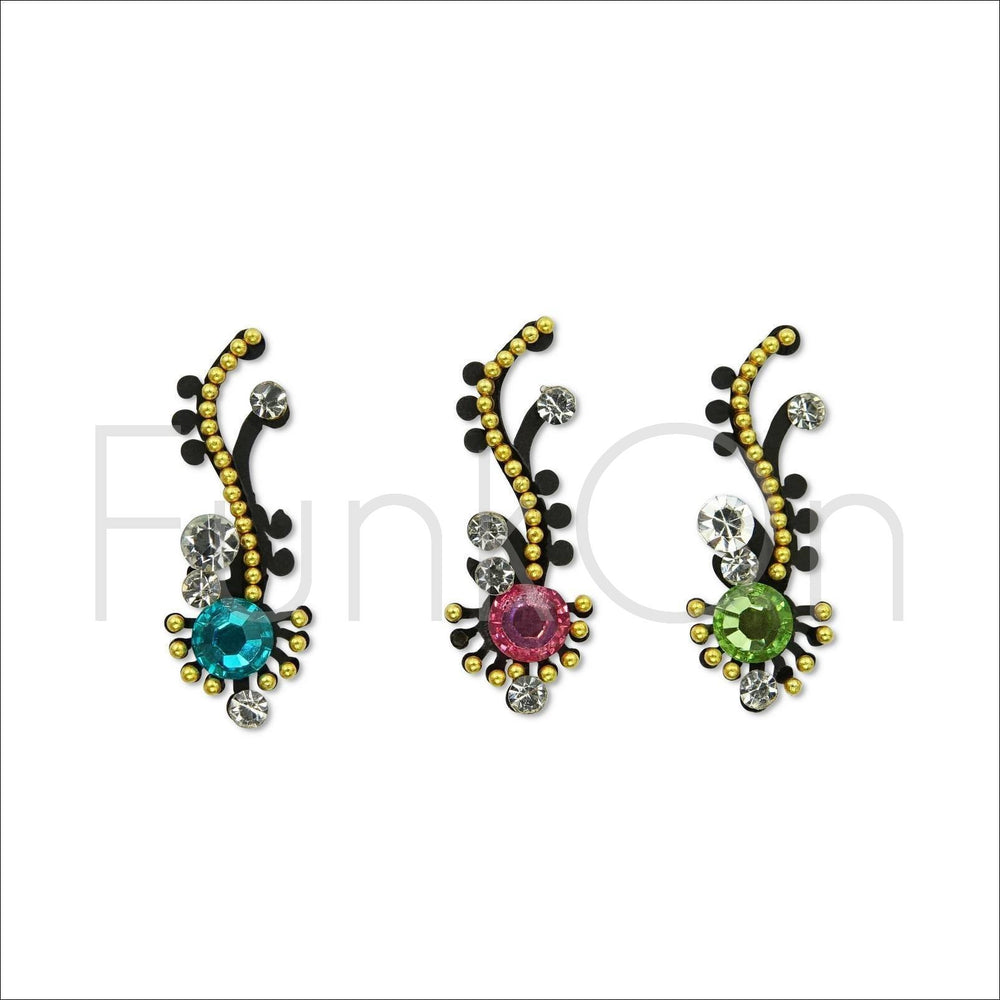 Zephyr | Fancy Bindi Multi Pack | 3 Multicoloured Festival Face Jewels-FunkOn