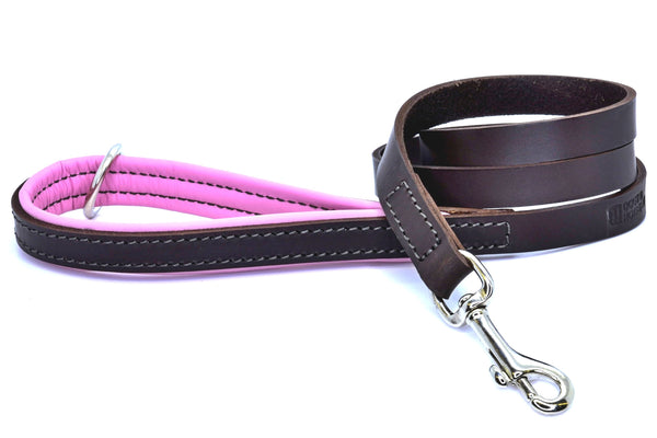 (Dogs&Horses) D&H London. Handmade Luxury brown flat leather dog lead with padded handle in soft Pink leather. 122 cm long (including handle) x 15mm wide