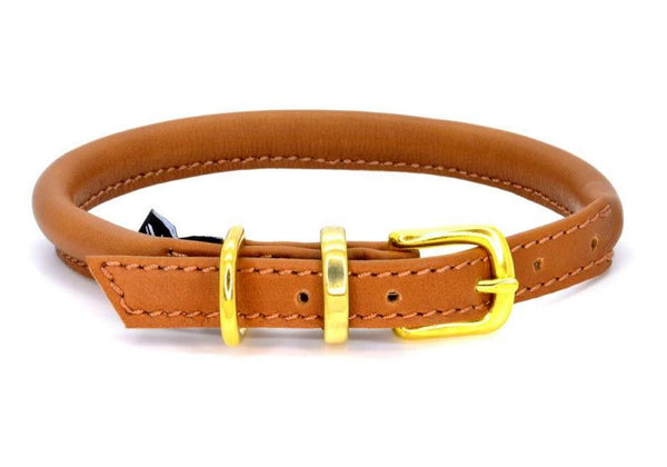 Rolled leather dog collar, handmade in England by D&H London ( Dogs & Horses Ltd). In luxury soft tan Italian leather