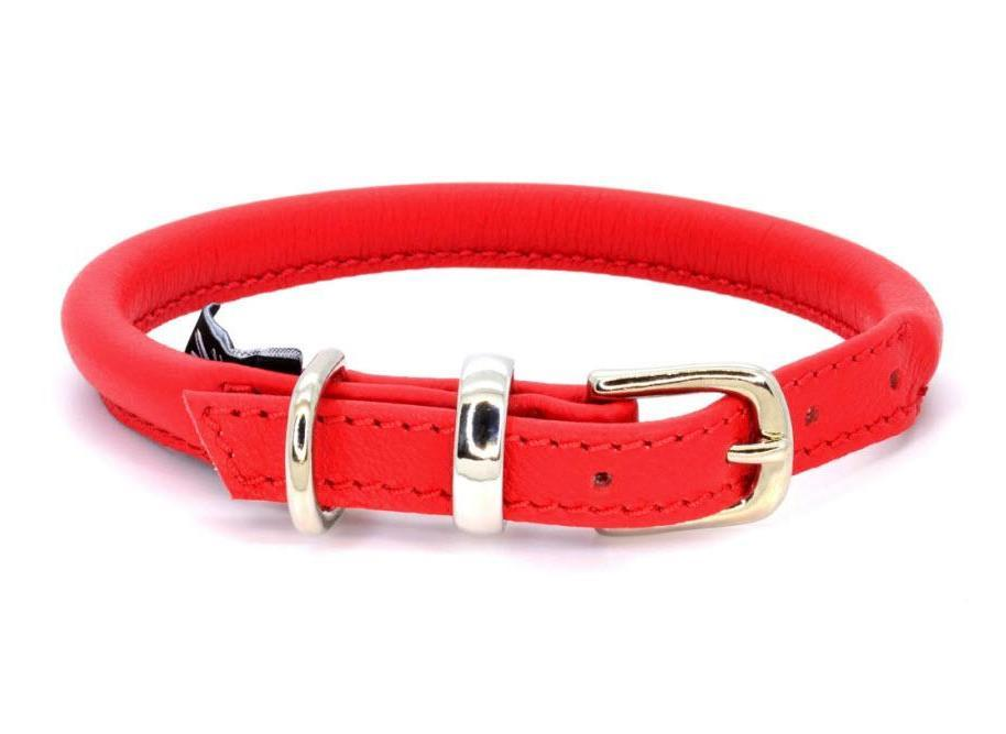 Rolled leather dog collar, handmade in England by D&H London ( Dogs & Horses Ltd). Luxury soft red Italian leather