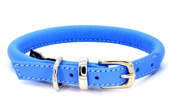 Rolled leather dog collar, handmade in England by D&H London ( Dogs & Horses Ltd). Luxury soft blue Italian leather