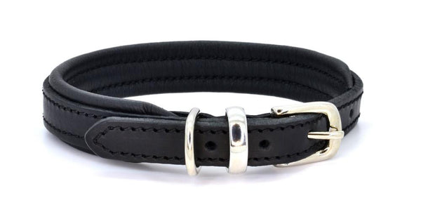Padded Leather Dog Collar black and black with silver. Handmade by (Dogs&Horses) D&H London. Luxury leather goods.