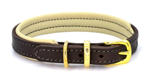 Padded Leather Dog Collar brown, cream and brass made by (Dogs&Horses) D&H London. Handmade, Luxury
