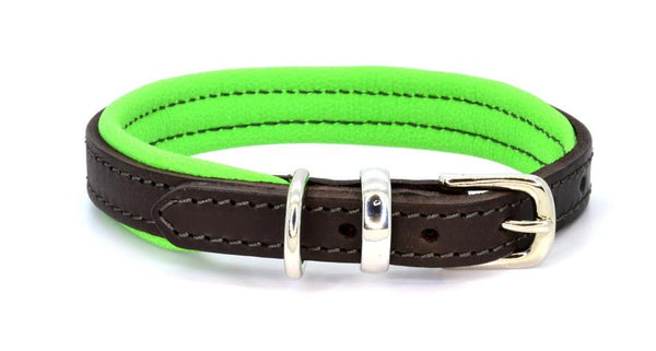 Padded Leather Dog Collar brown, green and silver. Handmade by (Dogs&Horses) D&H London. Luxury leather goods .