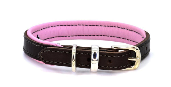 Padded Leather Dog Collar brown, pink and silver. Handmade by (Dogs&Horses) D&H London. Luxury leather goods.