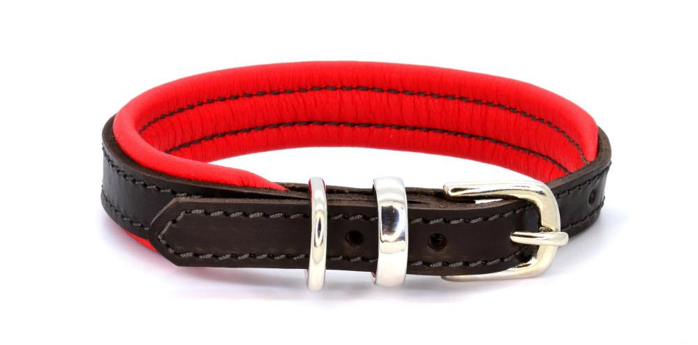 Padded Leather Dog Collar brown, read and silver. Handmade by  (Dogs&Horses) D&H London. Luxury leather goods.