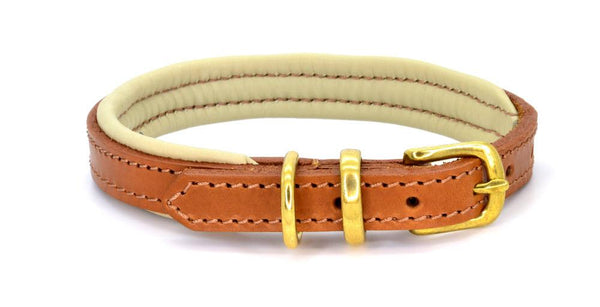 Padded Leather Dog Collar tan, cream and brass. Handmade by (Dogs&Horses) D&H London. Luxury leather goods.