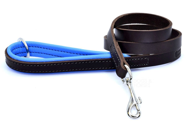 (Dogs&Horses) D&H London. Handmade Luxury brown flat leather dog lead with padded handle in soft Blue leather. 122 cm long (including handle) x 15mm wide